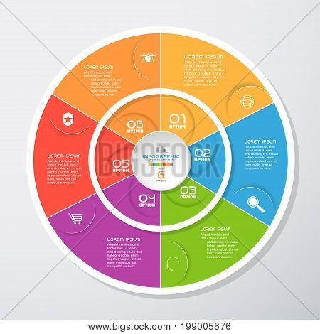 Vector infographic of round white forms and color segments cut from paper with shadows text and icons on the gradient gray background. Can be use for business education presentation.