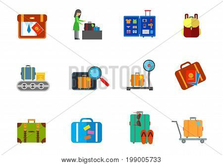 Luggage icon set. Packing Bag Woman Baggage Claim Open Travel Suitcase Backpack Luggage Carousel Inspection Luggage on Scale Suitcase and Passports Flip Flops and Sunglasses Suitcase on Cart