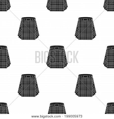 Scottish tartan kilt.The men's skirt for the Scots.Scotland single icon in black style vector symbol stock web illustration.
