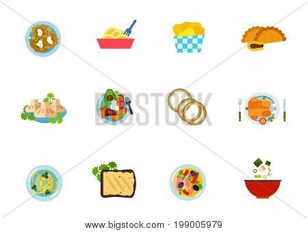 National cuisine icon set. Boxty Noodle Chicken Nuggets Empanada With Meat Khinkali Sobrebarriga Sudada Onion Rings Roasted Chicken Noodle Soup Forshmak Dish With Vatapa Miso Soup