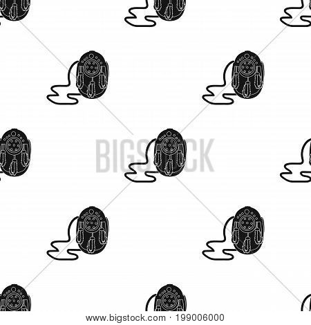 Scottish waist bag with fluff.The national dress of Scotland.Scotland single icon in black style vector symbol stock web illustration.