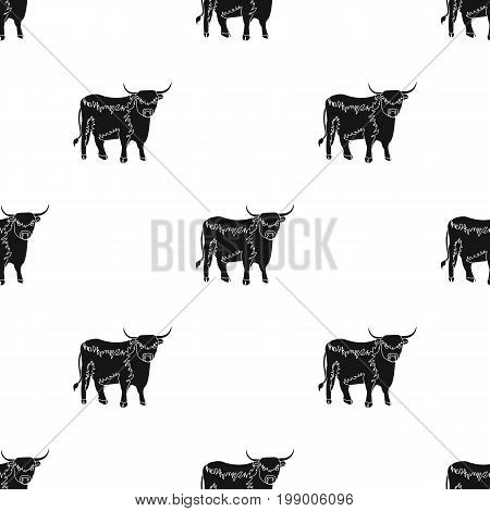 Brown bull with horns.Mountain bull is a symbol of Scotland.Scotland single icon in black style vector symbol stock web illustration.