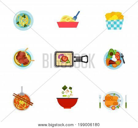 National food icon set. Soup With Noodles Chicken Nuggets Traditional Dish Farikal Raclette Sobrebarriga Sudada Nam Ngiao Miso Soup Served Roasted Chicken