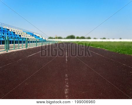 Racecourse on a soccer stadium for going in for sports