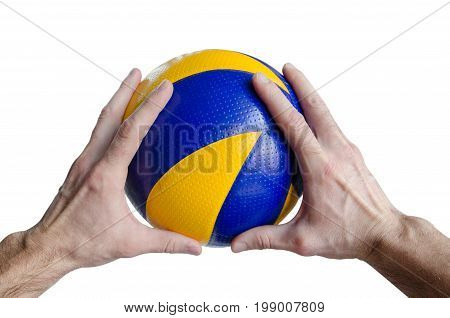 Cropped Image Of A Man Hand Holding A Volleyball Ball