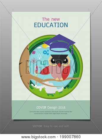 Covers design template, Inspiration for education and learning concept, Owl teacher with graduation cap, Space rocket launch and knowledge icons, Symbol of wisdom and educational (Paper art style)