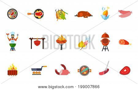 Summer picnic food icon set. Grilled Steak Barbeque Tools Pig Chicken Drumstick Sausage Grilling Man Pot Marshmallow Ham Ribs Frying Pan Meat Products Fish