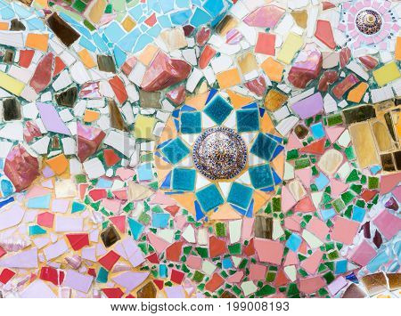 Collage ceramic tile for decorate on the church wall of the Thai templeNorthern of Thailand.(Public area not required Property Release)