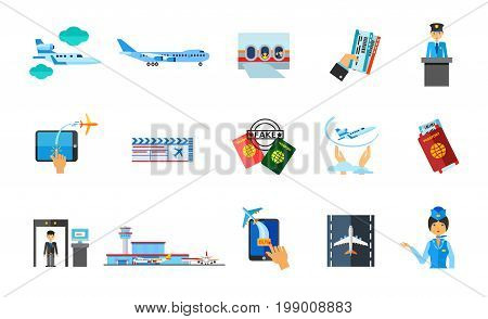 Traveling abroad icon set. Jet Plane Window Airplane Tickets Customs Official Buying Tickets Online Passport Flight Insurance Security Check Airport Terminal Airplane on Runway Stewardess