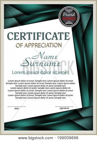 Template certificate of appreciation with decorative elements. Vector illustration.
