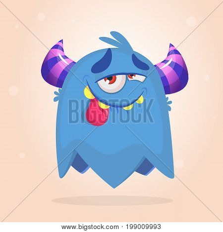 Happy pleased cartoon monster. Satisfied monster emotion. Halloween vector illustration