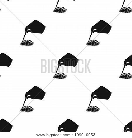 Hand wrapping the medicine in the damaged eye. Medicine single icon in black style vector symbol stock illustration .
