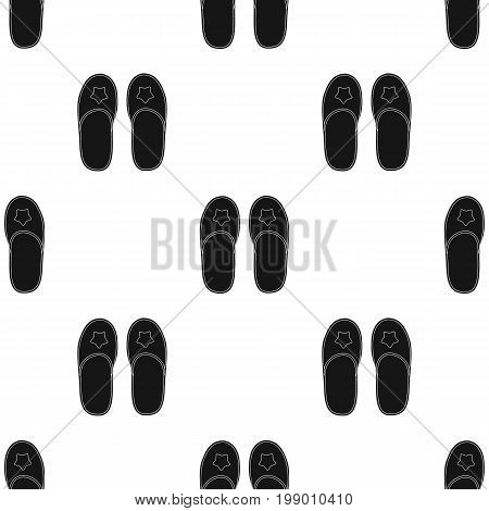 Slippers icon in black design isolated on white background. Sleep and rest symbol stock vector illustration.
