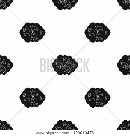 Count sheep icon in black design isolated on white background. Sleep and rest symbol stock vector illustration.