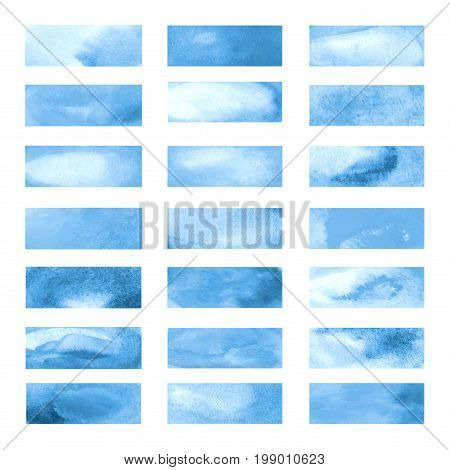 Blue color highlight stripes, banners drawn with japan markers. Stylish highlight elements for design. Vector highlight marker stroke, spots bright color