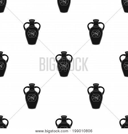 Bottle of olive oil icon in black design isolated on white background. Spain country symbol stock vector illustration.