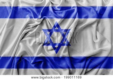 Ruffled waving Israel flag national flag close