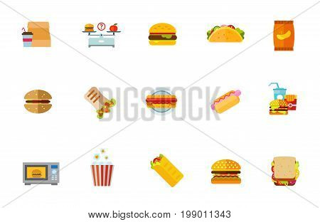 Unhealthy food icon set. Take-out Coffee Hamburger And Apple On Scales Hamburger Taco Potato Chips Burger Doner Hotdog Fast Food Microwave Oven Popcorn, Shawarma Sandwich