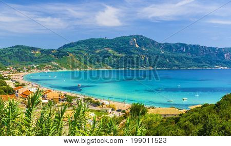 Agios Georgios Pagon beach in Corfu island Greece