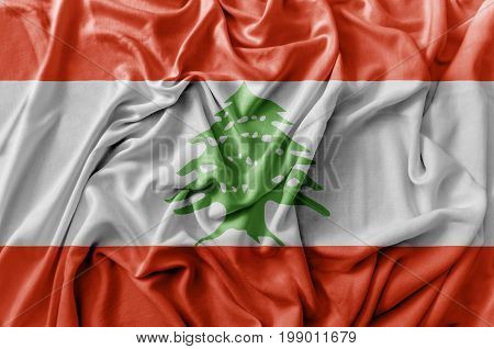 Ruffled waving Lebanon flag national flag close
