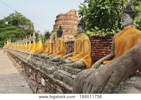 Buddha Statue at Wat Yai chai Mongkol, Wat Yai chai Monghon, Ayutthaya, Thailand April 25 2014