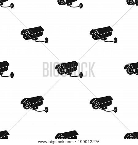 Security camera icon in black design isolated on white background. Supermarket symbol stock vector illustration.