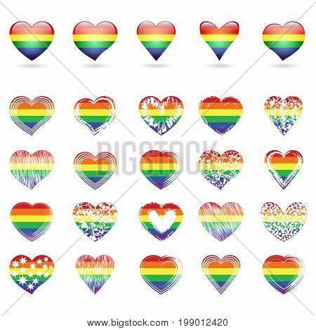 Set of hearts of gay pride symbols with rainbow decoration. Vector illustration.
