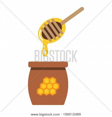 Honey ladle flat icon, food and drink, beehive sign vector graphics, a colorful solid pattern on a white background, eps 10.