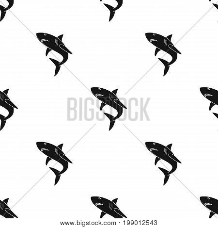 Great white shark icon in black design isolated on white background. Surfing symbol stock vector illustration.