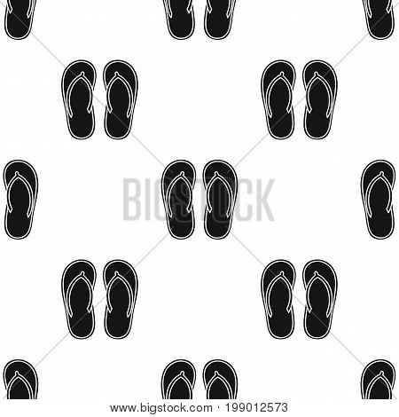 Flip-flops icon in black design isolated on white background. Surfing symbol stock vector illustration.