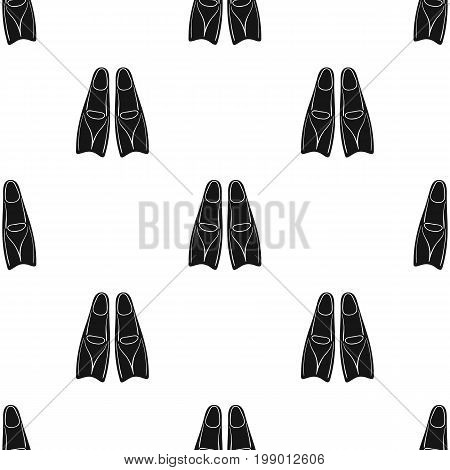 Flippers icon in black design isolated on white background. Surfing symbol stock vector illustration.