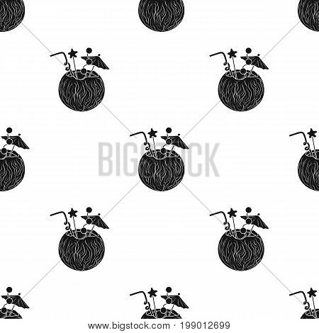 Coconut cocktail icon in black design isolated on white background. Surfing symbol stock vector illustration.