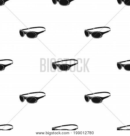 Glasses for swimming icon in black design isolated on white background. Surfing symbol stock vector illustration.