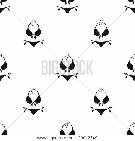 Bikini icon in black design isolated on white background. Surfing symbol stock vector illustration.