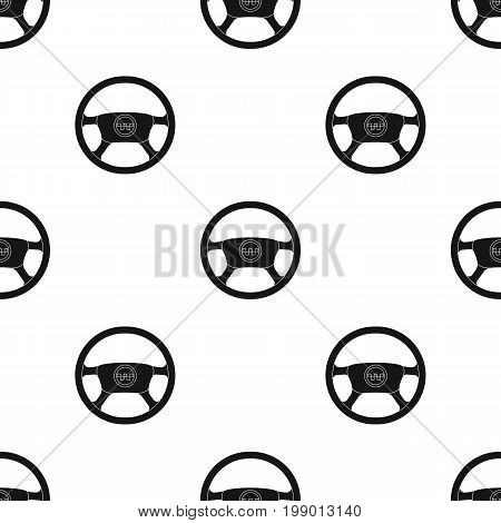 Black wheel with yellow emblem of taxi. The element to control the taxi car. Taxi station single icon in black style vector symbol stock web illustration