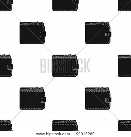 Black leather purse with money dollar. Taxi payment means. Taxi station single icon in black style vector symbol stock web illustration.