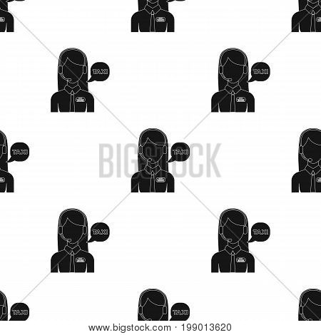 Girl in a white shirt with headphones.Call centre manager takes a taxi booking. Taxi station single icon in black style vector symbol stock web illustration.