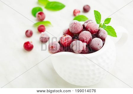 Cranberry With Ice In Sauce Pane With Green Mint