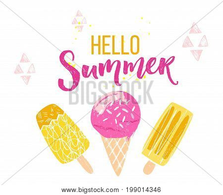 Hello summer text with brush calligraphy and three ice creams. Season greeting banner for social media and posters.