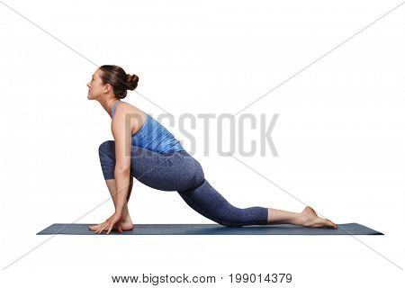 Woman doing Hatha yoga asana Anjaneyasana - low crescent lunge pose isolated