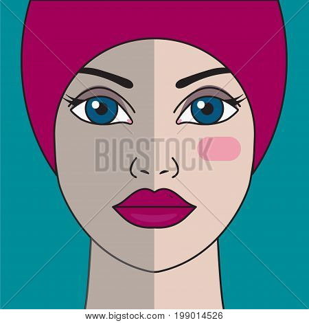 Dull complexion. Skin care. Portrait of beautiful girl. Before and after treatment serum. Vector graphic design