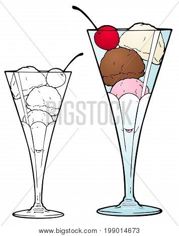 Hand scooped gourmet ice cream in a tall glass. Comes with black outline version bonus.