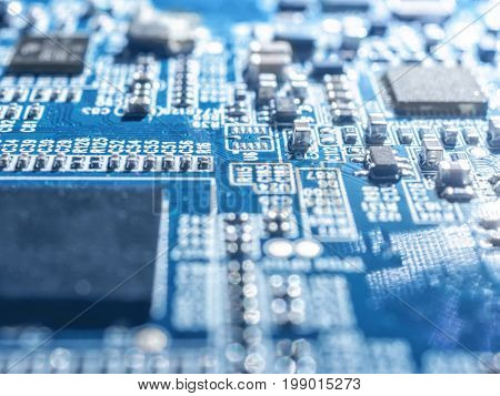 Electronic Circuit Chip Board Mother Board Computer Cpu Close Up.