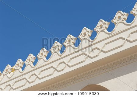 Closeup Detail Or Ornate Architecture On A Mosque