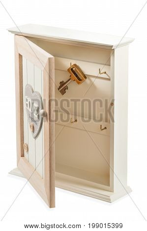 Decorative wooden housekeeper - box with a key isolated on a white background