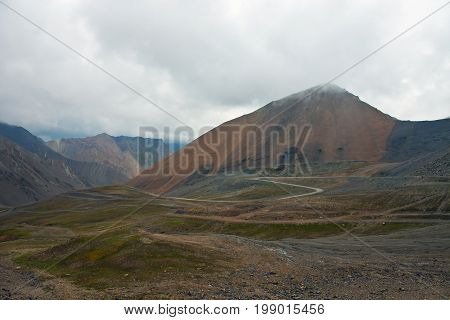 Mountain pass and the serpentine roads in the Tien Shan mountains Kyrgyzstan