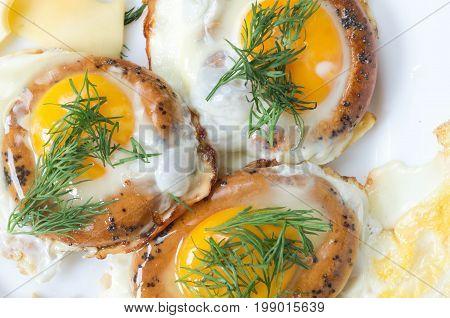 Three Fried Eggs. Eggs Fried In Bread.