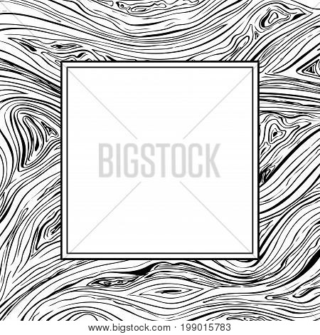 Square frame with lines background. Vector texture with copyscape hand drawn ink wavy strokes. Black and white.
