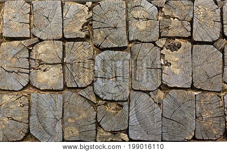 pavement texture made of wooden blocks