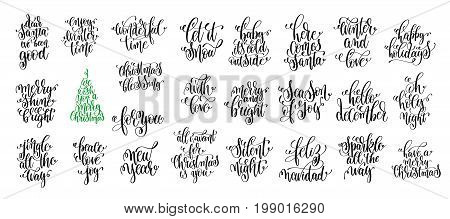 set of 25 black ink christmas and happy new year celebration holidays hand lettering quotes to greeting card, banner, poster, calligraphy vector illustration collection